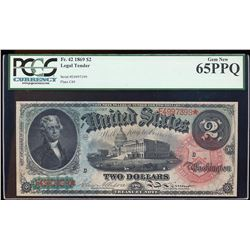 1869 $2 Rainbow Legal Tender Note Fr.42 PCGS Gem New 65PPQ
