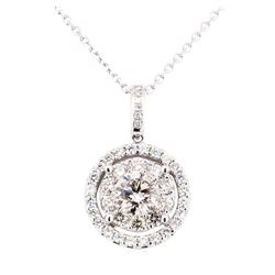 14KT White Gold 1.79 ctw Diamond Pendant & Chain