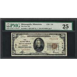 1929 $20 National Currency Note Minneapolis, Minnesota CH# 710 PMG Very Fine 25