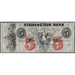1800's $5 Stonington Bank Connecticut Obsolete Note