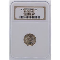 1916 Mercury Dime Coin NGC MS64FB