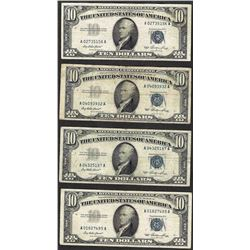 Lot of (4) 1953 $10 Silver Certificate Notes