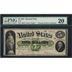 1861 $5 Demand Note Fr.1 PMG Very Fine 20