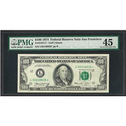 1974 $100 Federal Reserve STAR Note San Francisco PMG Choice Extremely Fine 45