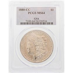 1880-CC $1 Morgan Silver Dollar Coin PCGS MS64 GSA