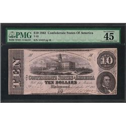 1862 $10 Confederate States of America Note T-52 PMG Extremely Fine 45