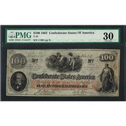 1862 $100 Confederate States of America Note T-41 PMG Very Fine 30