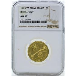1975FM $100 Bermuda Royal Visit Gold Coin NGC MS69