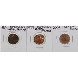 Lot of 1982 & 1989 Broadstruck Brockage Cents & 2001 Off-Center Cent ERROR Coins
