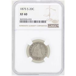 1875-S Seated Liberty Twenty Cent Piece Coin NGC XF40