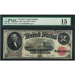 1917 $2 Legal Tender Note Fr.60 PMG Choice Fine 15