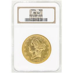 1904 $20 Liberty Head Double Eagle Gold Coin NGC MS62