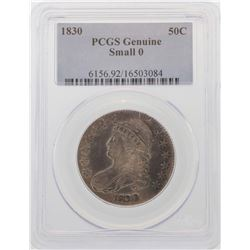 1830 Small 0 Capped Bust Half Dollar Coin PCGS Genuine
