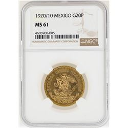 1920/10 Mexico 20 Pesos Gold Coin NGC MS61