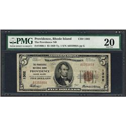 1929 $5 National Currency Note Providence, Rhode Island CH# 1302 PMG Very Fine 2