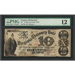 1861 $10 Virginia Treasury Note Obsolete Note PMG Fine 12