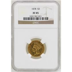 1878 $3 Indian Princess Head Gold Coin NGC XF45