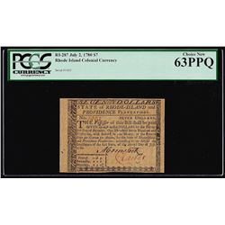 July 2, 1780 $7 Rhode Island Colonial Currency Note PCGS Choice New 63PPQ