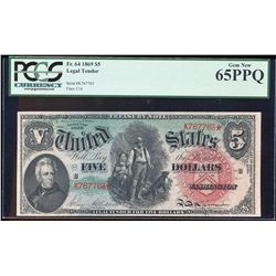 1869 $5 Rainbow Woodchopper Legal Tender Note Fr.64 PCGS Gem New 65PPQ