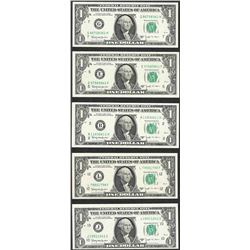 Lot of (5) 1963B $1 Federal Reserve BARR Notes