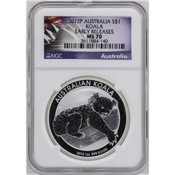 2012P $1 Australia Koala Silver Coin NGC MS70 Early Releases