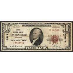 1929 $10 San Francisco California National Currency Note CH# 12579
