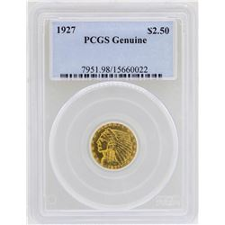 1927 $2 1/2 Indian Head Quarter Eagle Gold Coin PCGS Genuine