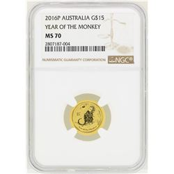 2016P Austalia $15 Year of the Monkey Gold Coin NGC MS70