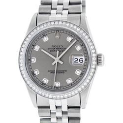 Rolex Men's Stainless Steel Slate Grey Diamond 36MM Datejust Wristwatch