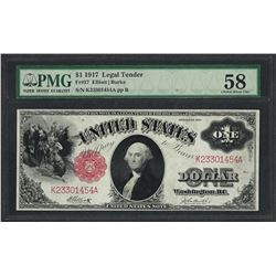 1917 $1 Legal Tender Note Fr.37 PMG Choice About Uncirculated 58