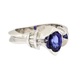 18KT White Gold 1.10 ctw Sapphire and Diamond Ring
