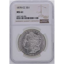 1878-CC $1 Morgan Silver Dollar Coin NGC MS61