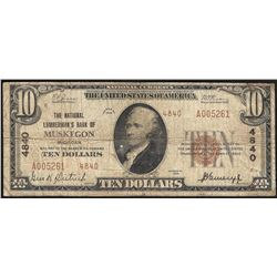 1929 $10 National Lumbermans Bank of Muskegon MI National Currency Note CH# 4840