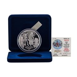 1988 Rarities Mint Walt Disney Around the World 5 oz .999 Silver Coin w/Box & CO