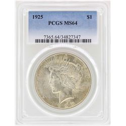 1925 $1 Peace Silver Dollar Coin PCGS MS64
