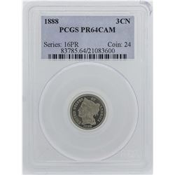 1888 Three Cent Nickel Proof Coin PCGS PR64CAM