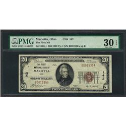 1929 $20 National Currency Note Marietta, Ohio CH# 142 PMG Very Fine 30EPQ