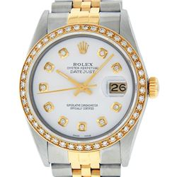 Rolex Men's Two Tone 14K White Diamond 36MM Datejust Wristwatch