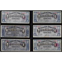 Lot of (6) 1915 1 Peso Mexico Revolutionary State of Chihuahua Notes