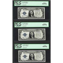 (3) Consecutive 1928A $1 Funnyback Silver Certificate Notes Fr.1601 PCGS Gem New