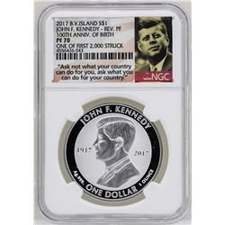 2017 British Virgin Islands $1 John F. Kennedy Reverse Proof Coin NGC PF70