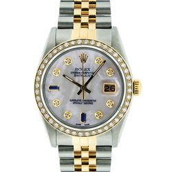 Rolex Men's Two Tone 14K Mother Of Pearl Diamond 36MM Datejust Wristwatch