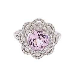 18Kt White Gold 2.75 ctw Kunzite and Diamond Ring
