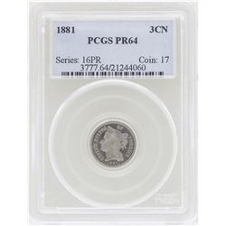 1881 3 Cent Nickel Proof Coin PCGS PR64