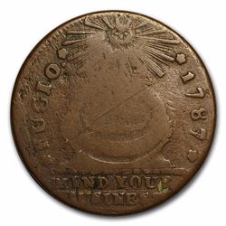 1787 Fugio Cent Fine First Coin Issued under the authority of the US EXTREMELY RARE COIN