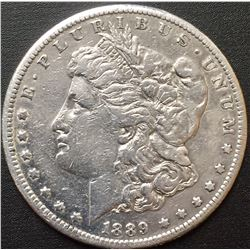 1889-CC Morgan Silver  Dollar AU RARE KEY DATE! ONLY 350,000 MINTED