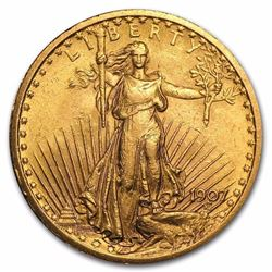 1907 $20 Saint-Gaudens Gold Double Eagle BU