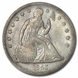 1843 Liberty Seated Dollar XF