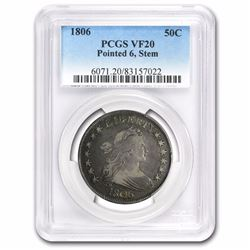 1806 Draped Bust Half Dollar Pointed 6, Stems Graded VF-20 PCGS 211 YEARS OLD