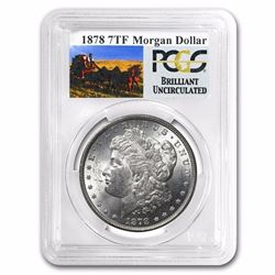 1878 7 TF Rev of 79 RARE Stage Coach Series Morgan Silver Dollar BU PCGS